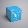 Radon. Noble gases. Chemical Element of Mendeleev's Periodic Table. Radon in square cube creative concept. 3D illustration.