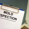 Documents about mold inspection with blue clipboard.
