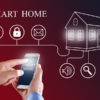 Mobile phone with smart home app.  Home Control Smart Phone Monitoring. Smart home concept.