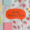 Word writing text Home Inspection. Business concept for Examination of the condition of a home related property Blank speech bubble paper balls clips sticky notes old wooden background.
